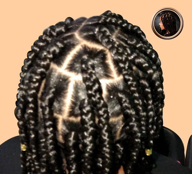 box braids with hair added