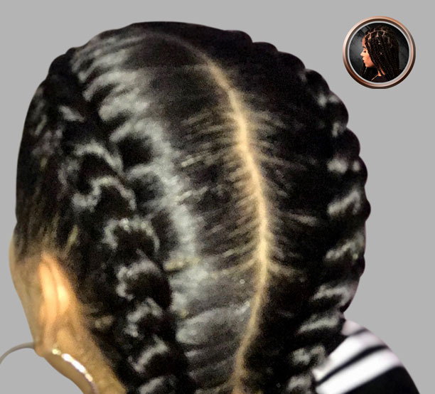 2 braids with hair added