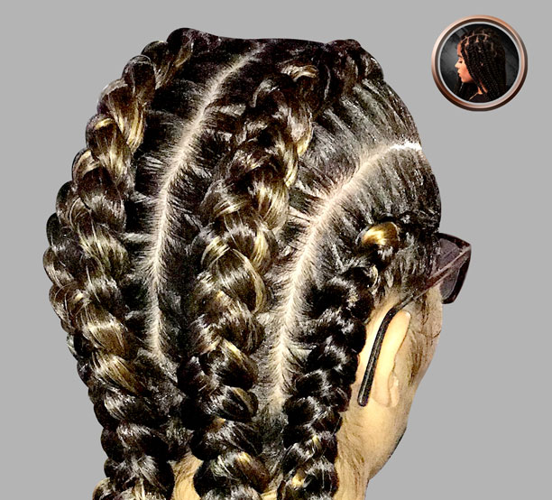 4 braids with hair added