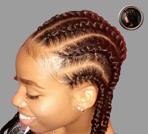 6 braids with hair added